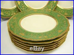 Exquisite Bavaria Eldora Gold Encrusted Green Dinner Plates Set Of 12
