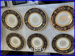 Exquisite K&A Krautheim Selb Bavaria 11 Dinner Plates (Set of 6) Black & Gold