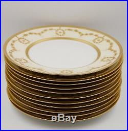 Exquisite Limoges Gold Encrusted & Jewels Dinner Plate Set Of 11