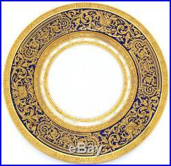 Fab Vintage Czech 4pc Cobalt & Raised Gold Enamel 10 3/4 Dinner Plate Set