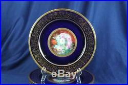 Fabulous Guerin Limoge Cobalt Heavy Gold 10-3/4 Dinner Cabinet Plates Enamel Fl