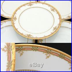 Fine Vintage Haviland Limoges Marked 5pc 9 3/4 Plate Set, Pink, Foliage & Gold