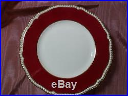 Flaws 5 Spode Copeland's Y499 Dinner Plates Red Band Gold Raised Scalloped Edge