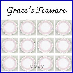 GRACE'S TEAWARE 12 PC Josephine Dinner PLATES PINK Gold Polka DOT Porcelain
