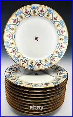 GUERIN Limoges France 10 1/4 Dinner Plates Set of 10 Pink Roses Blue Gold Swags