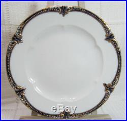 George Jones Sons England Crescent Bone China 5 Cobalt Blue Gold 8 Plates