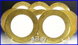Gorgeous Limoges 12 Gold Gold Encrusted Flower Dinner Plates Set