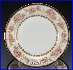 Haviland Cobalt Blue Gold with Roses Border Set 10 Dinner Plates