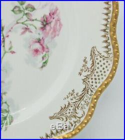 Haviland Dinner Plate Pink Roses e/ Enamel Heavy Gold H1223