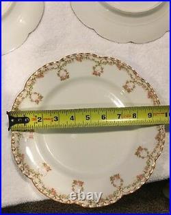 Haviland France Limoges Gold Trim Dropped Roses Wreath Dinner Plates Set Of 5