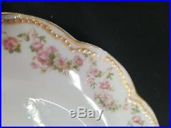 Haviland Limoges 71 Gold Pink Rose Scalloped Dinner Service France Set