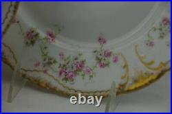 Haviland Limoges Double Gold Schleiger 157b Dinner Plates Set of 7 Antique