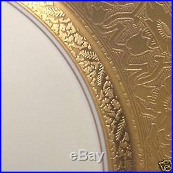 Heinrich Germany Hc425 10 7/8 Dinner Plate Gold Encrusted Rim White Center