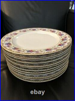 Heinrich H&Co Selb Bavaria Floral & Gold 10 1/8 Dinner Plates Set 12 Rich