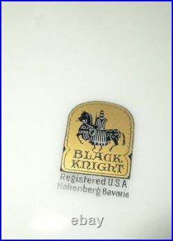 Hutschenreuter Hohenberg Bavaria BLACK KNIGHT Set of Ten 10 Plates Hand Painted