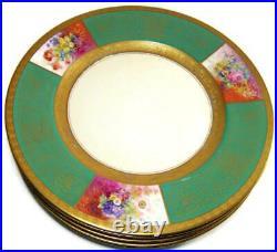 Hutschenreuther Pickard Dinner Plate Set of Ten HP Green & Gold Dresden Flowers