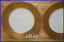 Hutschenreuther Royal Bavarian Gold Flower (4) Dinner Plates, 10 3/4