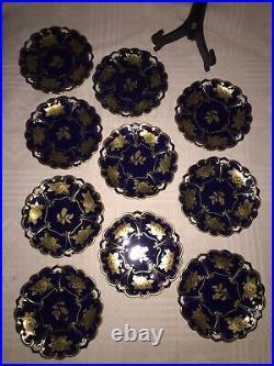 JLMENAU Echt Kobalt Cobalt Gold Graf Henneberg 10 pieces Dessert Plates, GERMANY