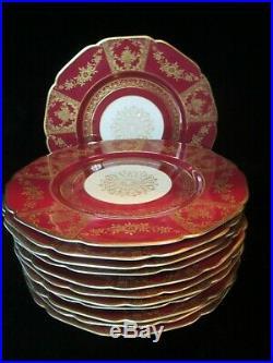K & A Krautheim Selb Bavaria 7792 12 Stunning Red & Gold Encrusted Dinner Plates