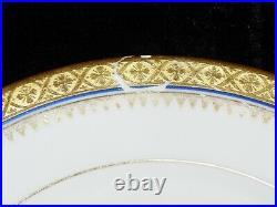 LIMOGES White Dinner Plates GOLD ENCRUSTED Rim Cobalt Filigree Trim French MLM