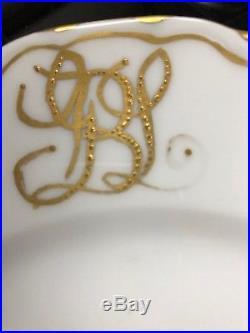 LOT OF 9 Haviland France Dinner Plates Scalloped Edge Gold Paint Monogrammed BGL