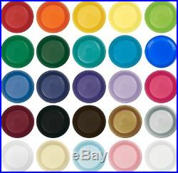 Large 9 Plastic Disposable Plates -Vibrant Solid Colors Luncheon Dinner Party