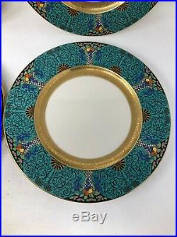 Lenox 1830 X98 Autumn Turquoise Gold Enamel Set of 10 Dinner Plates 10 1/2