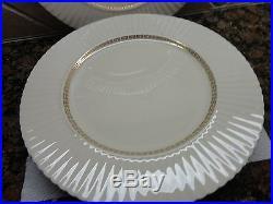 Lenox China Cretan 0316 24k Ivory 6 Dinner Plates Gold Greek Key Trim