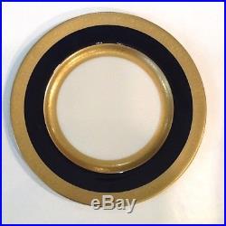 Lenox China Pattern R8b Set Of 12 Cream, Gold & Cobalt Blue Dinner Plates