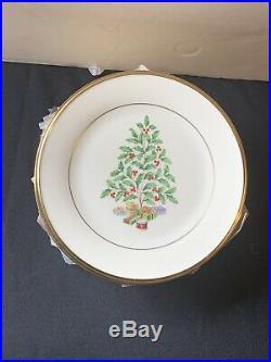 Lenox Eternal Christmas Tree Holiday Set Of 4 Plates Gold Trim Dimension 8