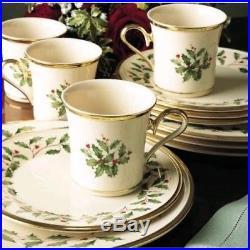 Lenox HOLIDAY 12-Piece Set, Dinner & Salad Plates, Mugs, Bone China 24k Gold NEW