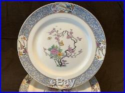 Lenox Ming Dinner Plates Set of 11 10 1/8 Diameter Gold Rim Birds