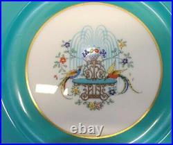 Lenox USA A408V 12 Dinner Plates Birds on Fountain Deep Turquoise & Gold