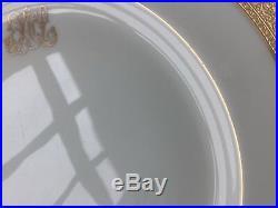 Lenox Westchester M139 Dinner Plates Monogramed Gold Encrusted Antique Set of 9