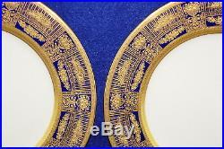 Lenox X114B (4) Dinner Plates, 10 1/2 Cobalt Gold Encrusted-Green B/S