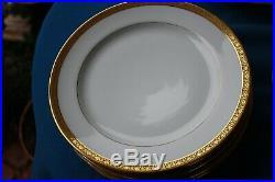 Limoges Elite Works Gold Encrusted 12 Dinner Plates, or Luncheon 9 5/8