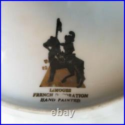 Limoges France Set Of 7 Plates Black Knight Mark 10 3/4 Burgundy and Gold