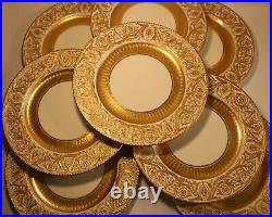 Magnificent Set Of 8 Minton Tiffany Gold Dinner Plates Antique
