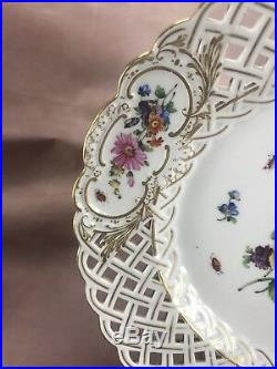 Meissen German 19thC Full Flowers with Insects 9 Reticulated Dinner Plate (MSS64)