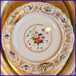 Mid 1800's Ed Honore Old Paris Hand Paint Gold Bird Rose Landscape Dinner Plate