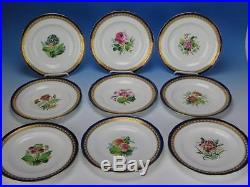 Minton Porcelain Botanical Flower Cobalt Gold Edge 9 Cabinet Dinner Plates