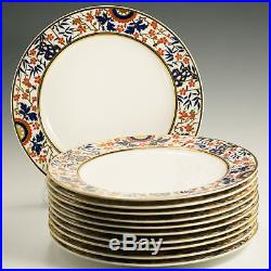 Mintons 11 Antique China Dinner Plates G6386 Cobalt Blue Red Gold Made England