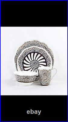 Modern Golden Leopard Scalloped Edge Dinner Set 16 Pieces, Fine Bone China