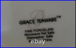 NEW (4) Grace's Teaware SCALLOP RED STRIPE GOLD TRIM Dinner Plates Holiday Decor