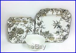 New 12 Pc Adelaide Cream+gray Floral, Birds+gold Trim, 4 Dinner+salad Plates+bowls