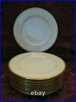 Newtown Gold-Edged China Dinner Plates Set of Twelve (12) Very Nice