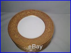 Nice Set Of 12 Epaig Royal Czechoslovakia Gold Rim Dinner Plates