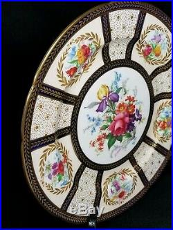 Paragon Bone China Her Majesty Queen Mary Dinner Plate Floral Gilt Cobalt #8902