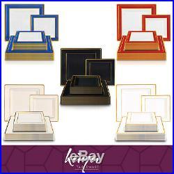 Party Disposable Plastic Plates Wedding Dinner Salad Square Vibrant Colors 120pc