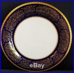 Pickard TIARA ROYALE COBALT GOLD 10.75 Service Dinner Plates (8)